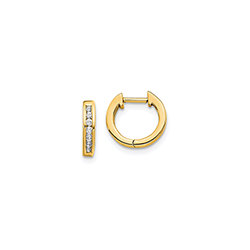 Fine Diamond Huggie Hoop Earrings for Baby - 14K Yellow Gold/