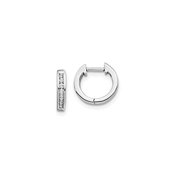 Fine Diamond Huggie Hoop Earrings for Baby - 14K White Gold/