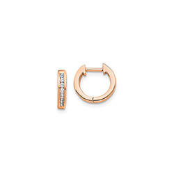 Fine Diamond Huggie Hoop Earrings for Baby - 14K Rose Gold/