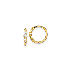 Beautiful CZ Huggie Hoop Earrings for Baby - 14K Yellow Gold/