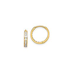 Classic CZ Huggie Hoop Earrings for Baby - 14K Yellow Gold/