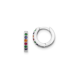 Rainbow CZ Huggie Hoop Earrings for Baby and Little Girls/