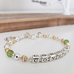 Gold and Silver Mothers Bracelet with Children's Birthstones / Names/