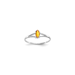 November Citrine Birthstone Ring for Girls - 14K White Gold - Size 4/