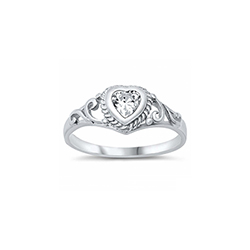 Gorgeous Ornate Heart Scroll Baby Ring - Sterling Silver Rhodium - April Diamond CZ - Size 3/