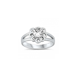 Gorgeous Heart Scroll Baby Ring - Sterling Silver Rhodium - April Diamond CZ - Size 1/