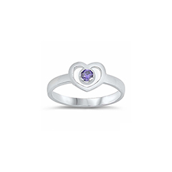 Darling Heart Baby Ring - Sterling Silver Rhodium - February Amethyst CZ - Size 1/