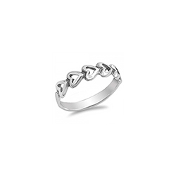 Camila Heart Baby Ring - Sterling Silver Rhodium - Size 3/