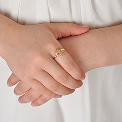 In Faith and Love - 14K Yellow Gold Girls Cross Ring - Size 4 Child Ring/