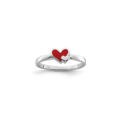 Together Always Adorable Child Heart Ring - Sterling Silver Rhodium/