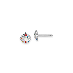 It's My Birthday! Cupcake Child Earrings - Sterling Silver Rhodium/