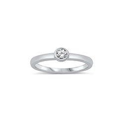 Luna Birthstone Baby Ring - Sterling Silver Rhodium - Diamond CZ - Size 1/