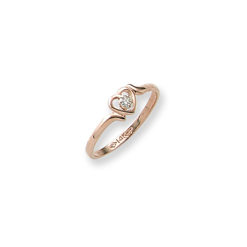 BeadifulBABY Sweetheart Ring 14K Yellow Gold Diamond Heart