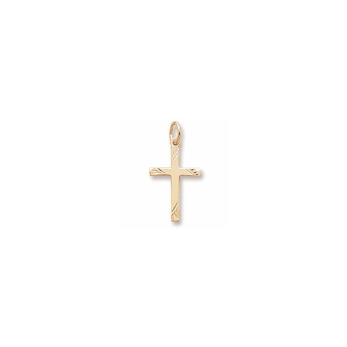 Rembrandt 10K Yellow Gold Diamond-Cut Medium Cross Charm – Add to a bracelet or necklace