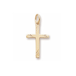 Rembrandt 10K Yellow Gold Diamond-Cut Medium Cross Charm – Add to a bracelet or necklace/