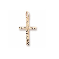 Intricate Christian Cross - Medium Charm/Pendant 10K Yellow Gold - Add to a bracelet or necklace/