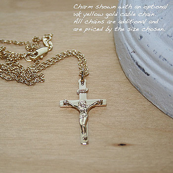 Boys Crucifix Cross Pendant - 14K Yellow