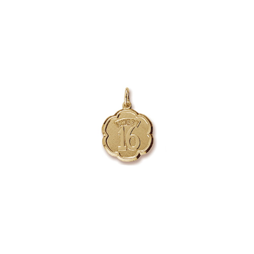 Sweet 16 - Birthday Girl - Decorative Round Charm in 10K Yellow Gold – Engravable on Back - Add to a bracelet or necklace