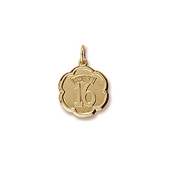 Sweet 16 - Birthday Girl - Decorative Round Charm in 10K Yellow Gold – Engravable on Back - Add to a bracelet or necklace/