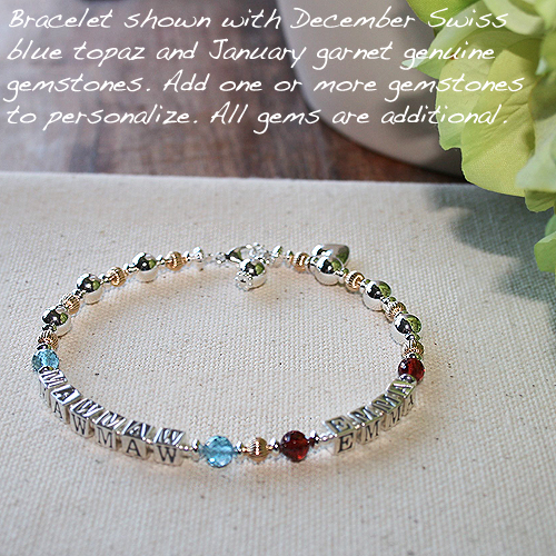 Mothers Bracelet with Children's Birthstones / Names
