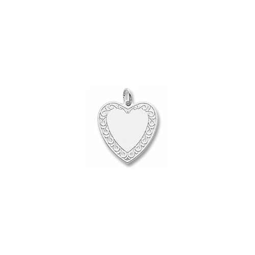 Rembrandt Sterling Silver Engravable Large Fancy Heart Charm – Engravable on front and back - Add to a bracelet or necklace - BEST SELLER