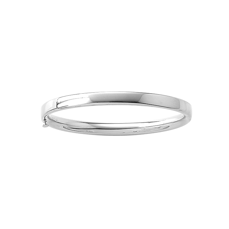 Fine Baby Bracelets - 14K White Gold Baby, Toddler Bangle Bracelet - Size 4.5""