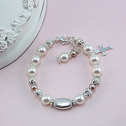 Vintage Antoinette™ by My First Pearls® Baby Bracelet – Grow-With-Me® designer original freshwater cultured pearl baby bracelet – Personalize with gemstones & charms /