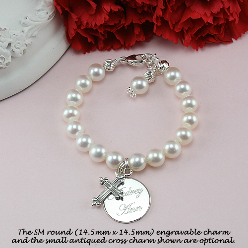 Classic Beauty™ by My First Pearls® Baby Bracelet – Grow-With-Me® designer original freshwater cultured pearl baby bracelet – Personalize with gemstones & charms