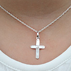 Gorgeous First Gifts - Diamond and Mother of Pearl Cross Necklace - 14