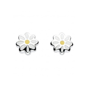 Adorable White & Yellow Girls Daisy - Enameled Sterling Silver Rhodium Girls Earrings - Push-Back Posts