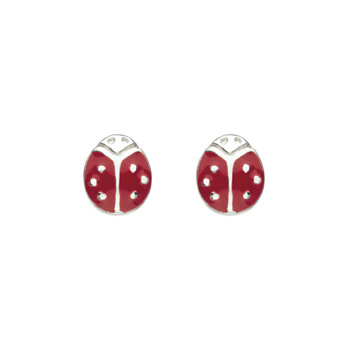 Cute and Pretty Ladybugs - Enameled Sterling Silver Rhodium Girls Earrings