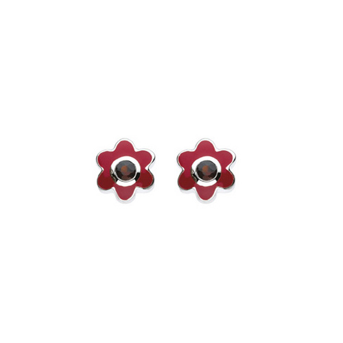 January Birthstone - Genuine Garnet Adorable Flower Girls Earrings - Sterling Silver Rhodium