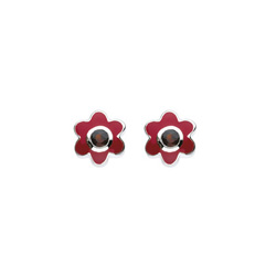 January Birthstone - Genuine Garnet Adorable Flower Girls Earrings - Sterling Silver Rhodium/