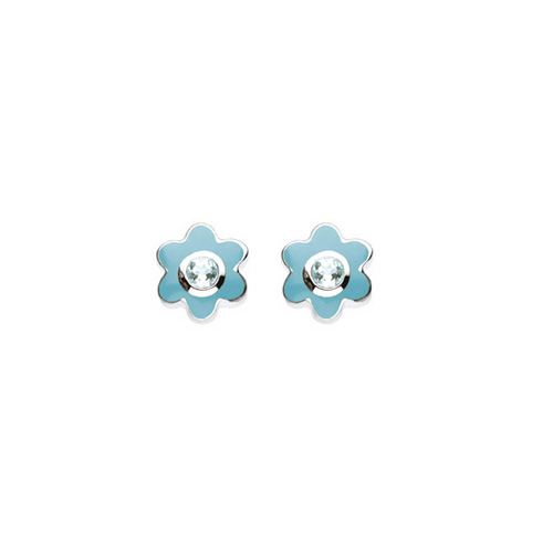 March Birthstone - Genuine Blue Topaz Adorable Flower Girls Earrings - Sterling Silver Rhodium