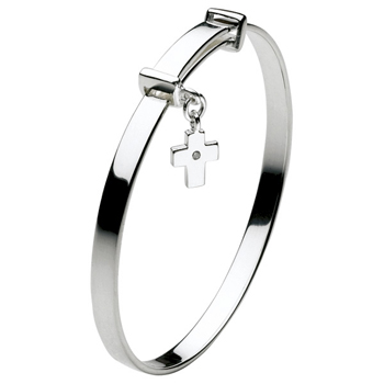 "Beautiful Sterling Silver Rhodium Diamond Cross First Communion Bangle Bracelet for Girls - Size 5.25"" expandable to 6.0"" - Baby to Teen - BEST SELLER"