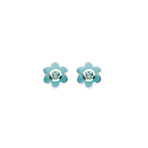 May Birthstone - Genuine Green Quartz Adorable Flower Girls Earrings - Sterling Silver Rhodium
