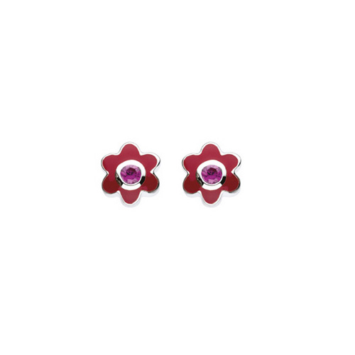 July Birthstone - Synthetic Ruby Adorable Flower Girls Earrings - Sterling Silver Rhodium