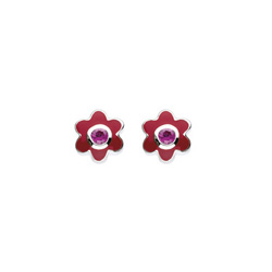 July Birthstone - Synthetic Ruby Adorable Flower Girls Earrings - Sterling Silver Rhodium/
