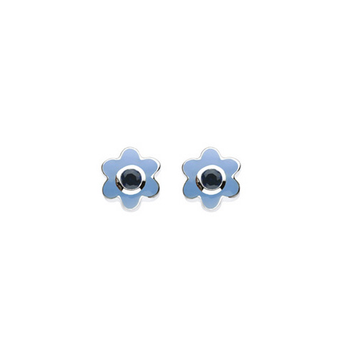 September Birthstone - Synthetic Sapphire Adorable Flower Girls Earrings - Sterling Silver Rhodium