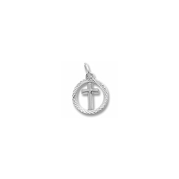 Rembrandt Sterling Silver Tiny Cross Charm with Diamond-Cut with Round Border – Add to a bracelet or necklace - BEST SELLER