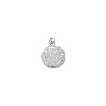 Rembrandt Sterling Silver Soccer Ball Charm – Engravable on back - Add to a bracelet or necklace
