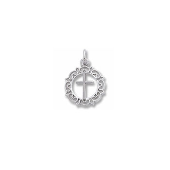 Rembrandt Sterling Silver Rhodium Round Decorative Cross Charm – Add to a bracelet or necklace - BEST SELLER