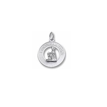 Rembrandt Sterling Silver Girl's Confirmation Charm – Engravable on back - Add to a bracelet or necklace