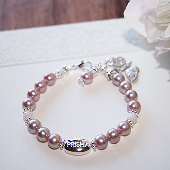 Signature Victorian Elegance™ by My First Pearls® Baby Bracelet – Grow-With-Me® designer original freshwater cultured pearl baby bracelet – Personalize with gemstones & charms