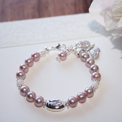 Signature Victorian Elegance™ by My First Pearls® Baby Bracelet – Grow-With-Me® designer original freshwater cultured pearl baby bracelet – Personalize with gemstones & charms/