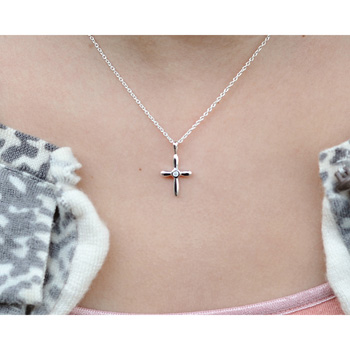 "Gorgeous First Gifts - Baby/Toddler/Child Diamond and Sterling Silver Cross Christening/Baptism Necklace - 14"" chain included - BEST SELLER"