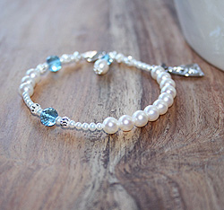 In His Name by My First Rosary® Baby Bracelet – Grow-With-Me® designer original freshwater cultured pearl rosary baby bracelet – Personalize with gemstones & charms/