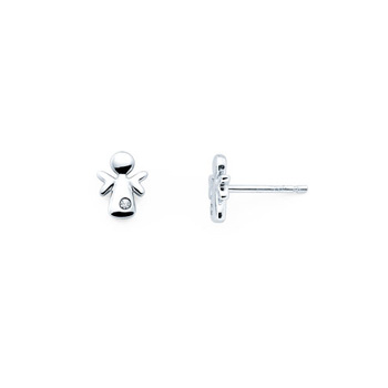 Angel Diamond Earrings for Girls and Baby - Sterling Silver Rhodium Earrings with Push-Back Posts