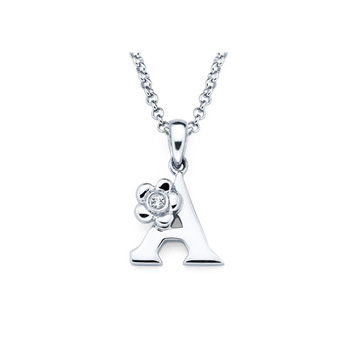 Adorable Small Letter A Pendant - Diamond Girls Initial Necklace - Sterling Silver Rhodium Chain and Pendant - BEST SELLER