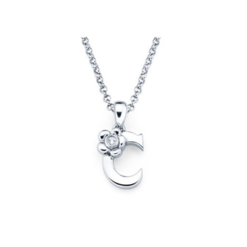 Adorable Small Letter C Pendant - Diamond Girls Initial Necklace - Sterling Silver Rhodium Chain and Pendant